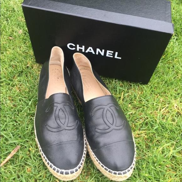 1 HR SALE CHANEL Leather Loafer Espadrilles Shoes